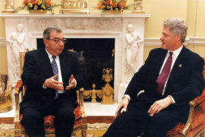 Russian Foreign Minister Yevgeniy Primakov (left) and US President Bill Clinton talk together in the White House, Washington DC, March 17, 1997. (Photo by Barbara Kinney/White House/Consolidated News Pictures/Getty Images)